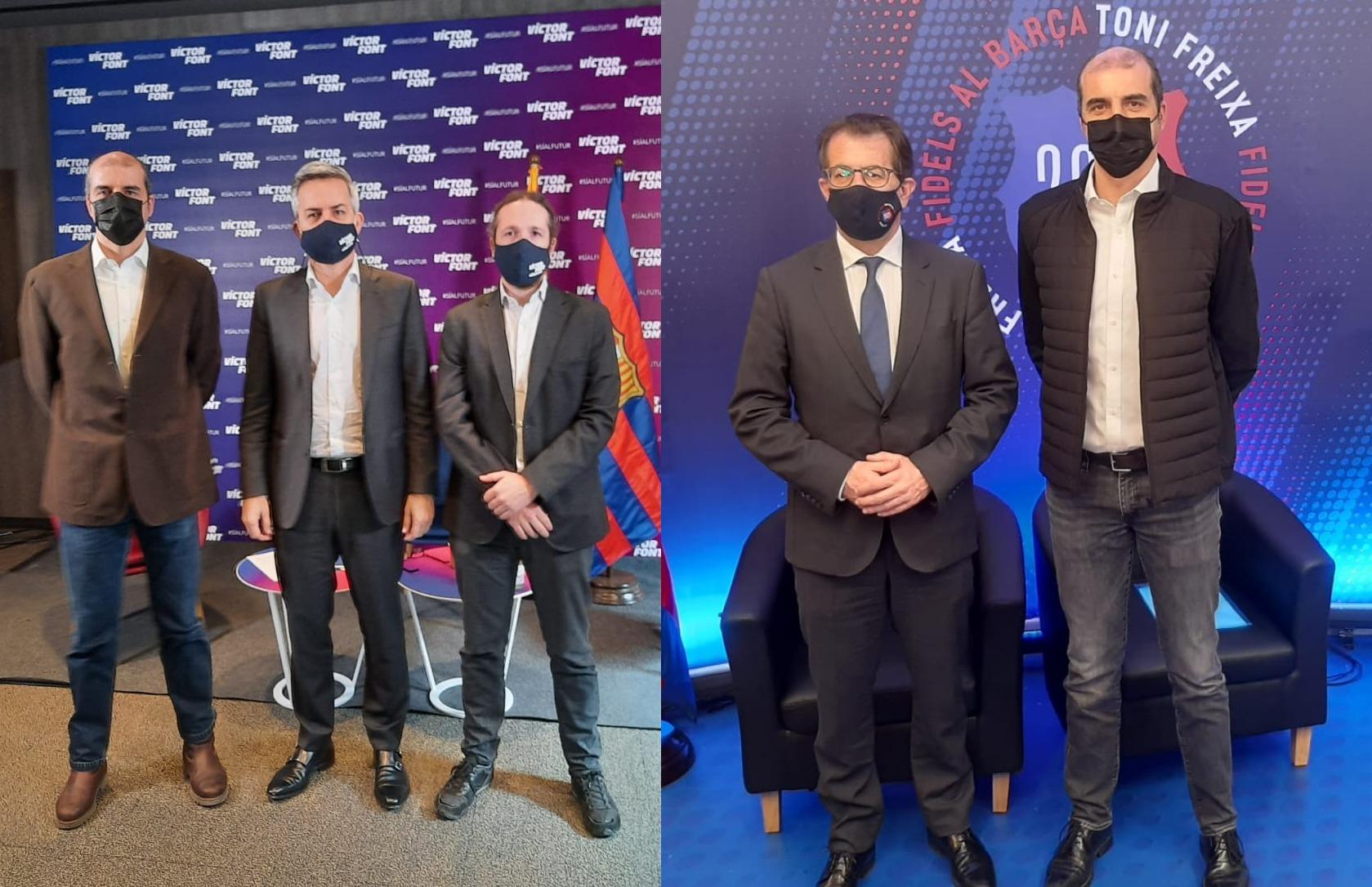 El president de Seguiment FCB, Carles Ordiales, amb els candidats Víctor Font i Toni Freixa.